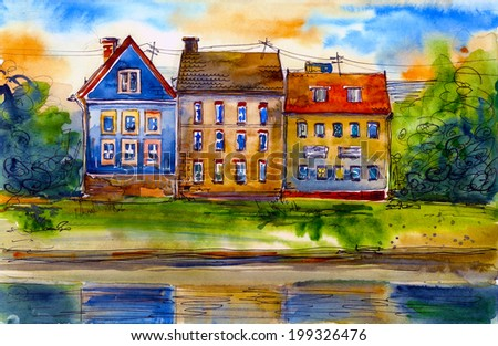Beautiful Houses Near Water Watercolor Painting Illustration Poster