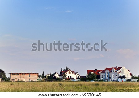 beautiful housing area in Munich in Nature - stock photo