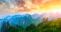 Beautiful Huangshan mountains landscape at sunrise in China.