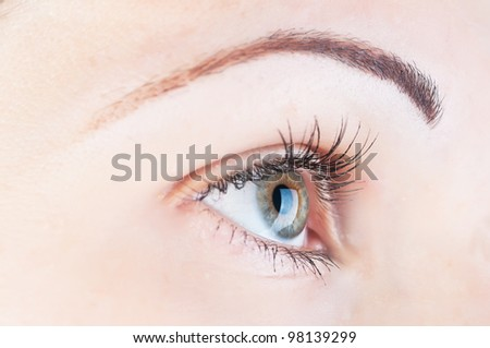 beautiful human eye and contact lens