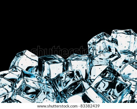 Beautiful Ice cubes, isolated over black