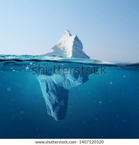 Beautiful iceberg in the ocean with a view under water. Global warming concept. Melting glacier #1407120320