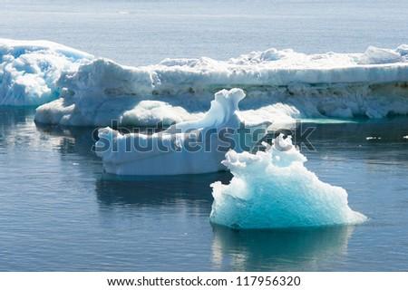 Beautiful icebergs drifting in Antarctic waters