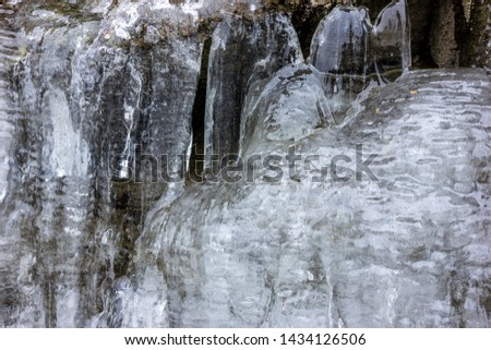 Beautiful icicles form as the water up in the mountains freezes creating frozen waterfalls . Stunning winter scene,  Whistler, British Columbia, Canada. Awesome texture, amazing ice formed shapes.
