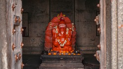 Beautiful idol of hindu god lord ganesha in temple of india.