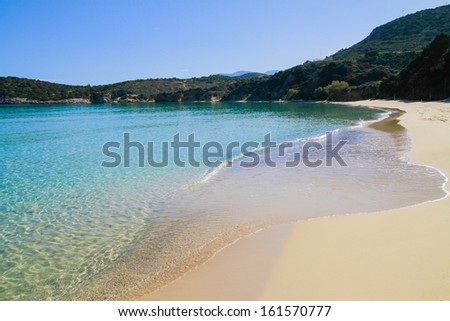 Beautiful idyllic crystal clear turquoise waters shoreline.