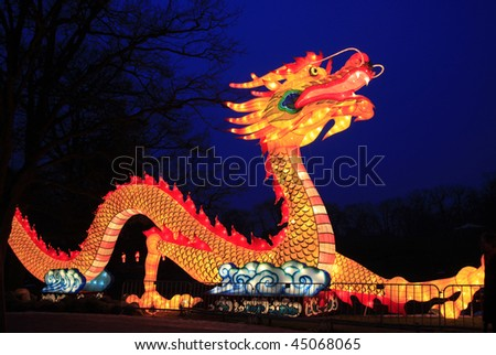 Beautiful illuminated Dragon on chinese light festival during chinese new year. Dragon stands for good luck in the new year