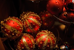 Beautiful illuminations in Vienna at Christmas market at nght