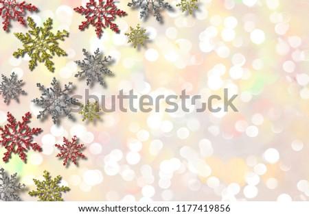 beautiful illustration of colorful snowflakes on shiny background #1177419856