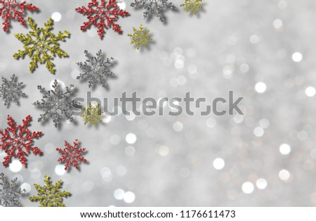 beautiful illustration of colorful snowflakes on white background #1176611473