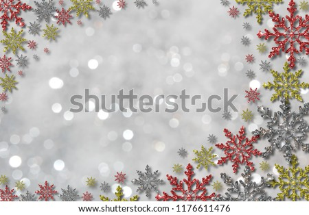 beautiful illustration of colorful snowflakes on white background #1176611476