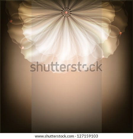 Beautiful illustration with white flower. Raster copy of vector image