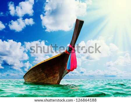 Beautiful image Longtail boat on the sea tropical beach. Andaman Sea, Thailand