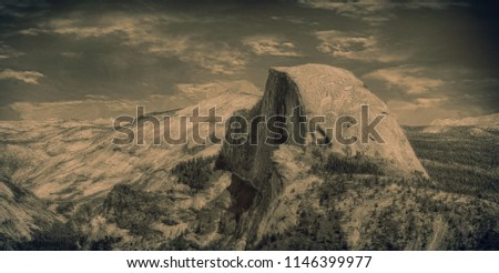 Beautiful Image of half Dome from Glacier point,Yosemite In a Vintage Look