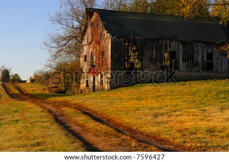 Beautiful image of old kentucky Horse barn in the country