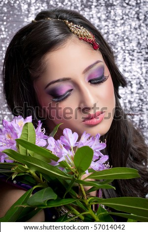 Beautiful indian bride with bright makeup