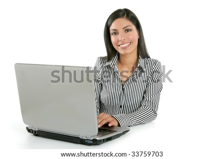 Beautiful indian brunette businesswoman with laptop computer isolated on white