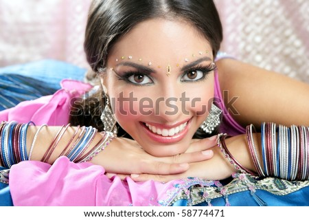 Beautiful indian brunette portrait with traditional costume