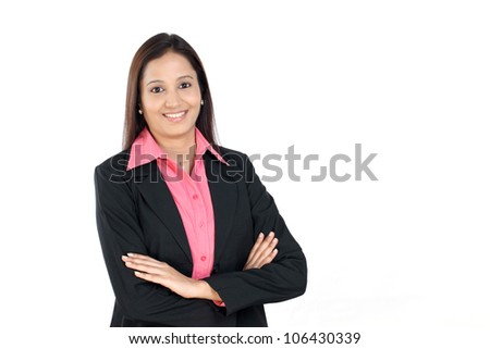 Beautiful Indian business woman with arms crossed on white