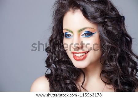 beautiful indian girl with creative makeup
