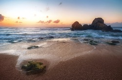 beautiful indian ocean beach on sunset
