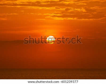 Beautiful Indian Ocean red sunset background. #601239377