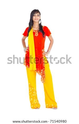 beautiful indian woman full length studio portrait