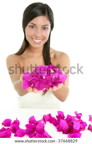Beautiful indian woman portrait with bougainvilleas flowers over white