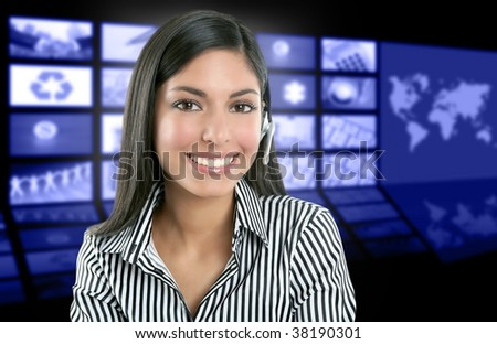 Beautiful indian woman television news presenter with multiple screen background [Photo Illustration]