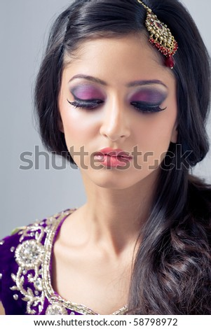 Beautiful indian woman with bridal makeup