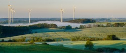beautiful, interesting and varied rural landscape of Brandenburg in Germany. Mills, fields and forests in the morning - panorama