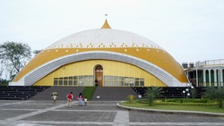 Beautiful interior design of mosque architecture in Lubuk Pakam City, Deli Serdang, North Sumatra