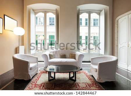 beautiful interior of hotel, view living room