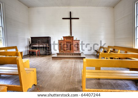 Beautiful interior of little country church in the Great Smoky Mountains National Park