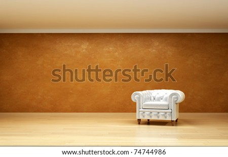 beautiful interior with leather chair on wood floor - stock photo