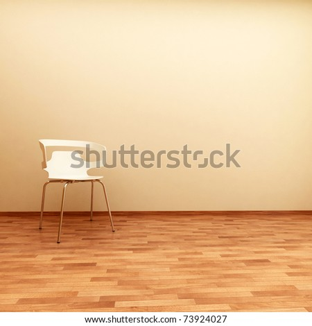 beautiful interior with modern chair on wood floor