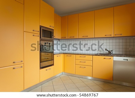 beautiful internal view, kitchen - stock photo