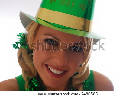Beautiful Irish Lass in a St. Patty's Party Hat