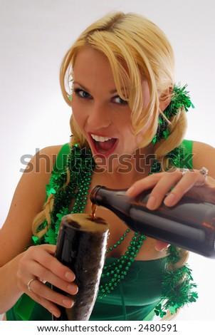 Beautiful Irish Lass Pouring a Pint of Ale