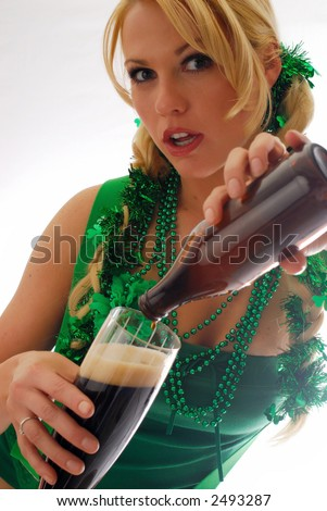 Beautiful Irish Lassie Pouring a Cold Pint of Ale copy space isolated