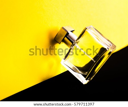 Beautiful is square with women's perfume bottle. Beautiful luxury perfume bottle. Process of making perfumes.