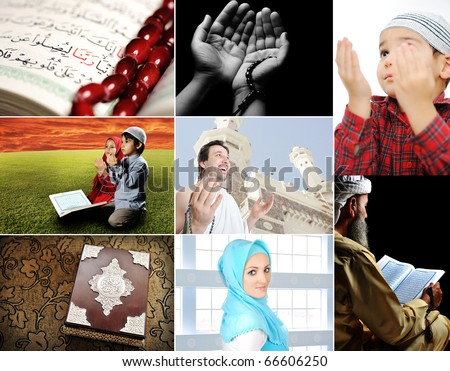 Beautiful ISLAM collection collage of several photos Muslim people and their activities