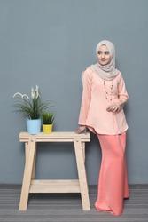 Beautiful Islamic Fashion.Girl Model wearing Hijab.Indoor photoshoot.