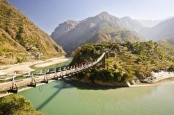 Beautiful island and Bridge  On the way to manali