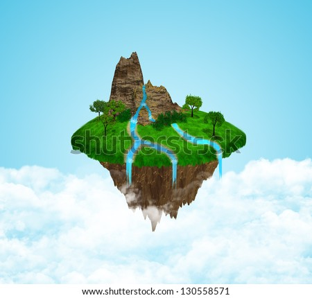 Beautiful island floating in the sky