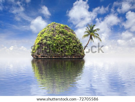 Beautiful island with a palm tree at ocean, Thailand
