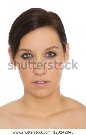 beautiful isolated young woman with perfect skin