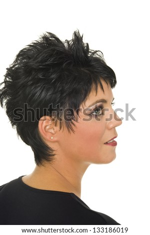 beautiful isolated young woman with perfect stylish haircut