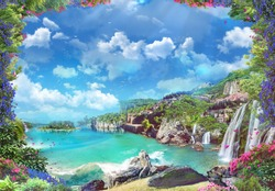 Beautiful Italian coast with waterfalls and red flowers. Digital collage, mural and mural. Wallpaper. Poster design. Modular panel. 3d render