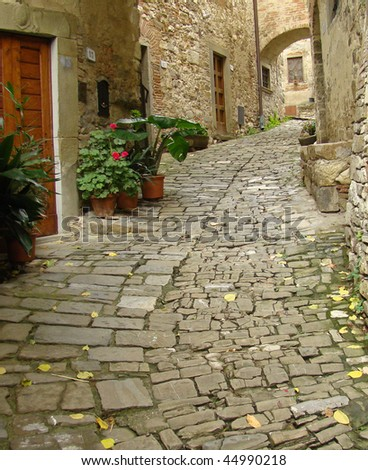 beautiful   italian cobbled  street  in borgo Montefioralle near Greve in Chianti , sometimes claimed to be the birthplace of Amerigo Vespucci, Greve in Chianti, Italy, Europe Italy, Europe